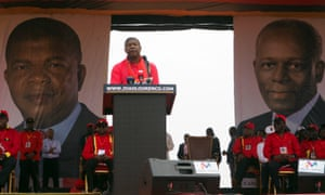 João Lourenço speaks at the MPLA's final election rally in Luanda on 19 August.