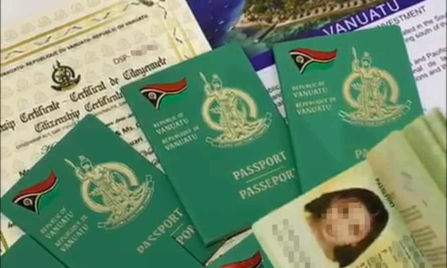 A screenshot from a Global-Migrate video 'guaranteeing' access to Vanuatu passports. The Guardian has anonymised personal details, which were visible in the advertisement.