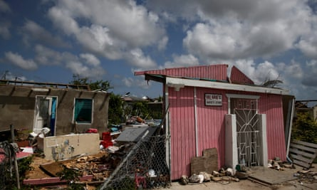 Ruined homes and businesses in Codrington, Barbuda, a month after Hurricane Irma struck.