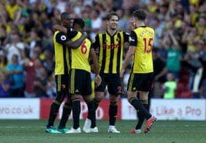 Watford players celebrate victory.