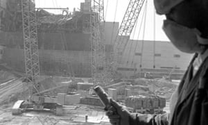 A worker with a giger counter in September 1986 - five months after the explosion.