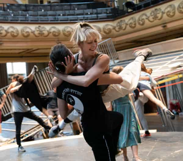 Ediz Mahmut and Lisa Ritchie in rehearsals for Carousel at Regent's Park Open Air theatre.