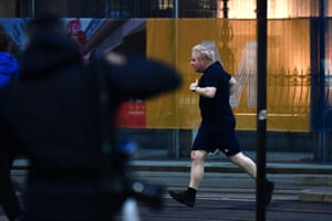 Boris Johnson going for a run in Manchester this morning.