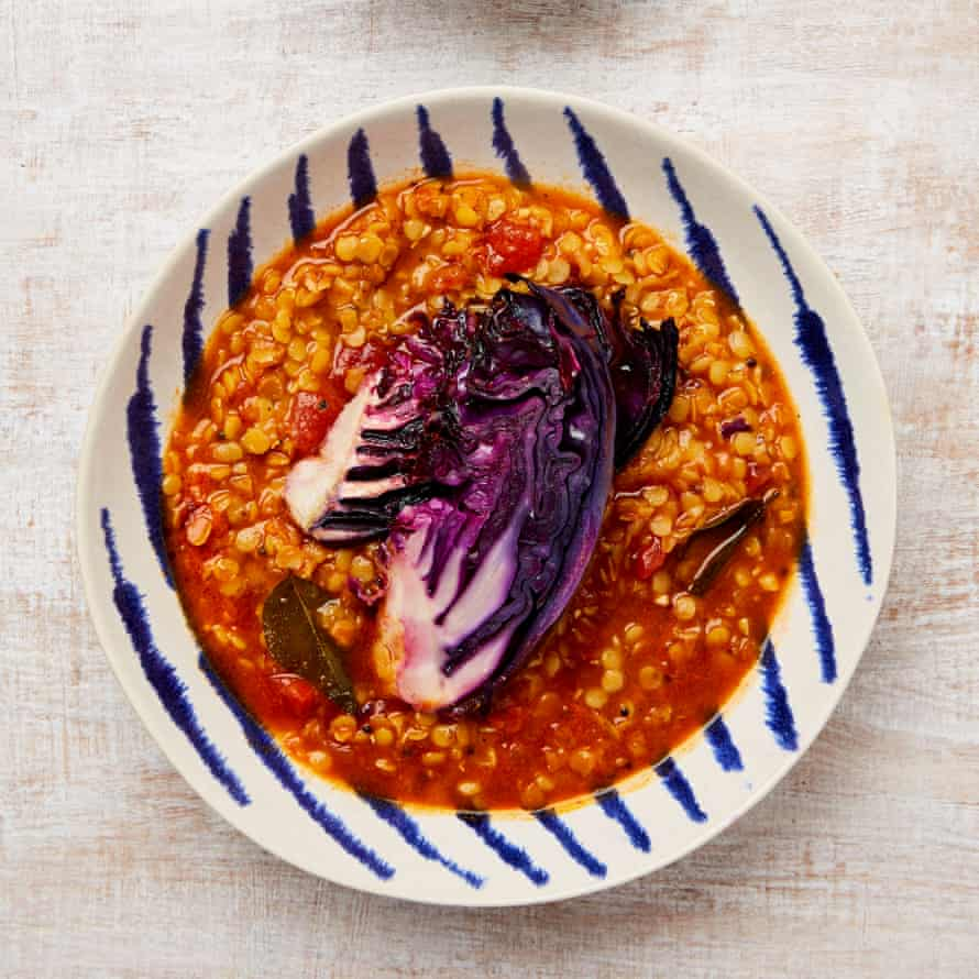 Meera Sodha's lentil rasam with roast red cabbage
