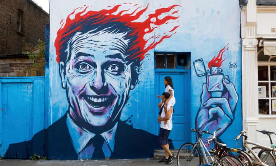 Mural of man with flaming hair