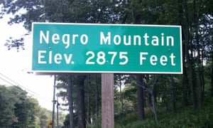Sign for Negro Mountain in the Allegheny Mountains.