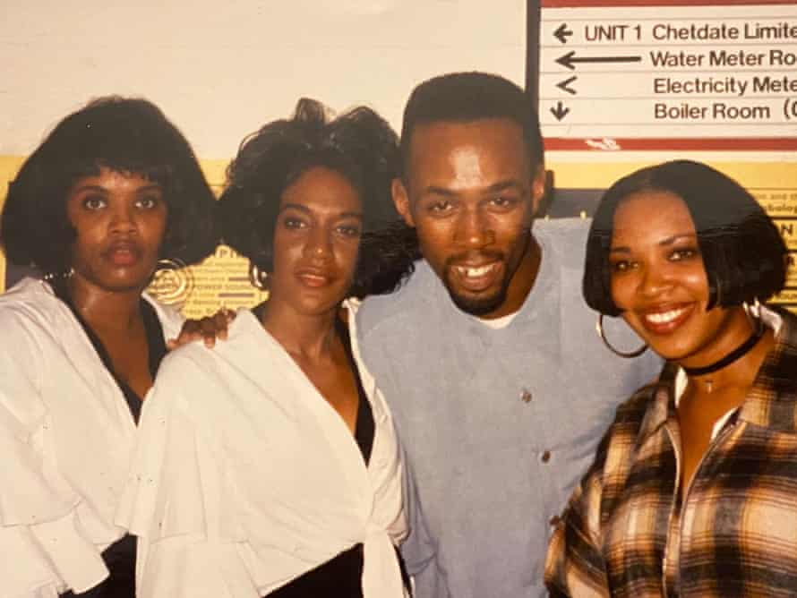 DJ Biggy C with the vocal house music trio Jomanda at the Vox, 1993