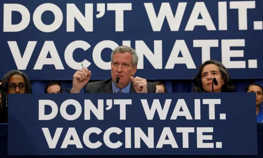 New York City's Mayor Bill de Blasio speaks during a news conference declaring a public health emergency in parts of Brooklyn in response to a measles outbreak in April.