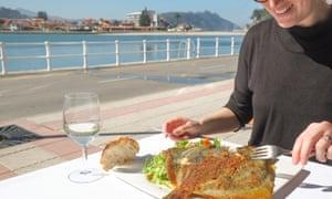 Eating rodaballo Casa Basilio, Spain.