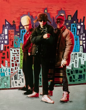 """""""The first official mural I painted was in 2005 for The Meeting of Styles in Greenpoint, Brooklyn,"""" says Alice Mizrachi. """"Before that, I remember catching tags in my neighbourhood as a teenager along a trail by the tracks we called the Go Path. I chose the Beastie Boys photo because I grew up listening to them and they were a huge influence on my work as a young artist. I also love the red colour in the photo and the live vibe I got when I saw it."""""""