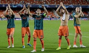 Joel Veltman, Hakim Ziyech, Dusan Tadic, Klaas Jan Huntelaar and Perr Schuurs celebrate Ajax's 3-0 win at Valencia in their last Champions League game