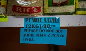 A sign restricting the purchase of maize flour subsidised by the government in a Nairobi supermarket