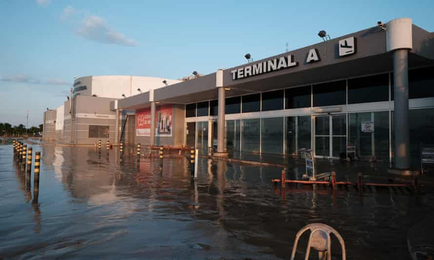 The Ramon Villeda Morales airport is seen after it was flooded by Tropical Storm Eta on Sunday in San Pedro Sula, Honduras.