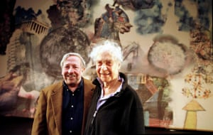Robert Rauschenberg and Merce Cunningham in front of Rauschenberg's decor for Interscape (2000).