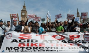 Motorbike drivers protest against acid attacks in London on 18 July.
