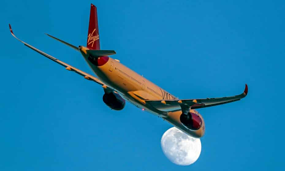 A Virgin Atlantic plane in flight in early 2020.