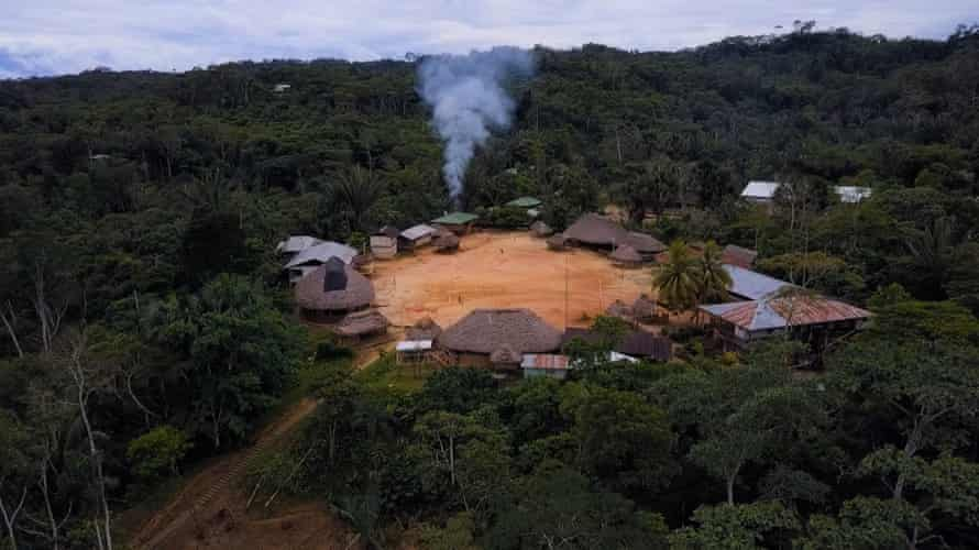 The village lies in the middle of the Amazon forest in Ecuador.