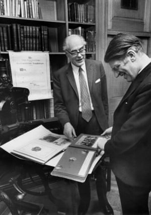 Mr L.P Scott (left), Chairman of the Manchester Guardian and Evening News, and Professor A.L. Armitage, Vice-Chancellor of Manchester University, look at the centenary album (1921) as the Guardian's archives are handed over to The University of Manchester Library. (Archive ref. GUA/6/9/1/4/G).