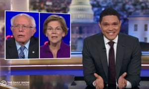 """Trevor Noah on the Democratic presidential field: """"Six candidates, all of them white, which is amazing odds — I mean, even a carton of eggs will sometime have a brown one thrown in accidentally."""""""