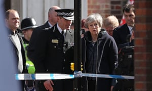 Theresa May at the site of a poisoning in Salisbury