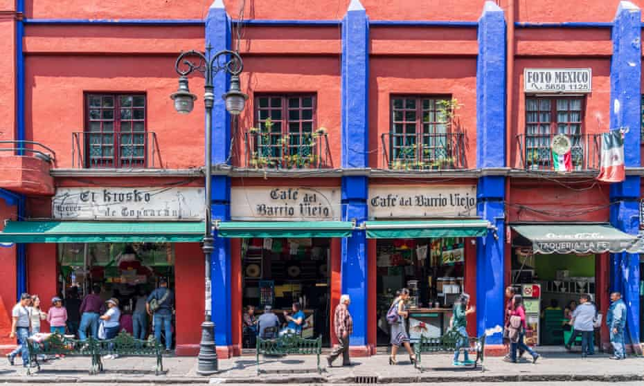 Coyoacan district street scene in Mexico City. Photo taken during a warm summer afternoon.