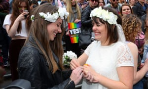 A mock wedding during a marriage equality march in Melbourne