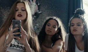 Three teenaged girls in the film Blue My Mind.