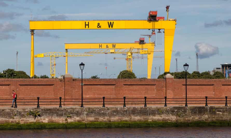 The Samon and Goliath cranes at the Harland and Wolff shipyard in Belfast.