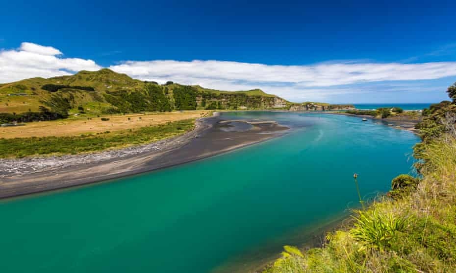 Mokau river in New Zealand