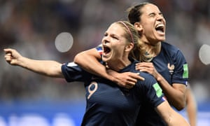 France's Eugenie Le Sommer (left) celebrates scoring their second goal.