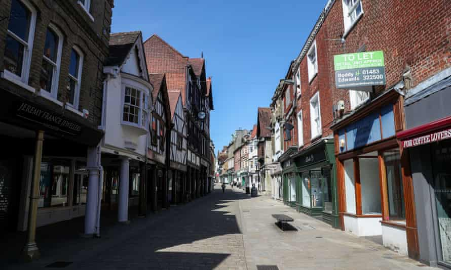 A near-empty High Street in Winchester.