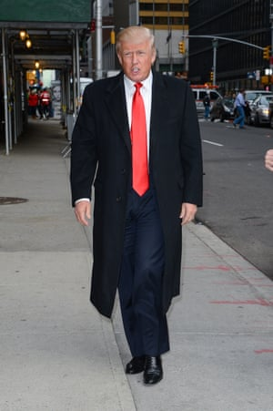Donald Trump en route to the Late Show With David Letterman.