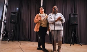 Twelve Literary Arts teaching artists Demetria McCulloh, 23, and Isis Duncan, 19, at the open mic event.