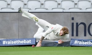 Ben Stokes fields the ball on the boundary off his own bowling during day five of the second Test against West Indies