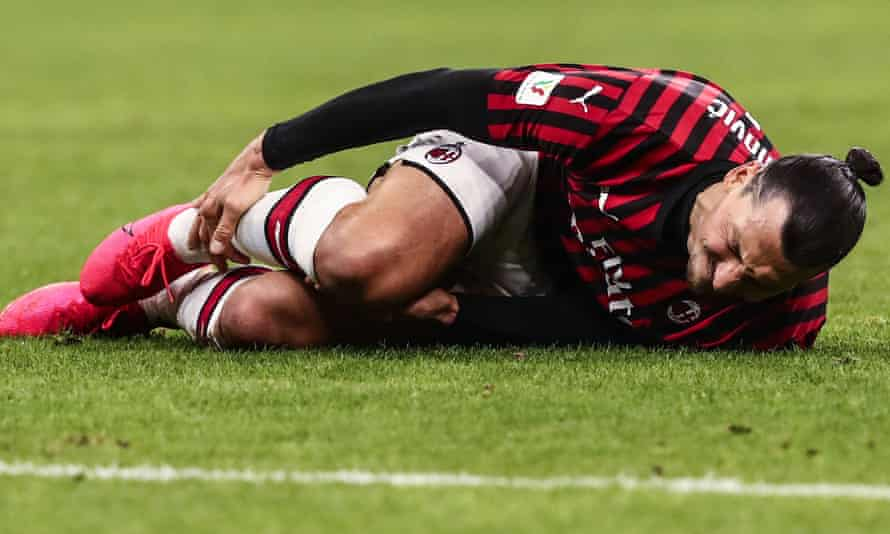 Zlatan Ibrahimovic after being tackled during the Coppa Italia semi-final against Juventus in February. Milan say he reported an injury to his soleus muscle in training.