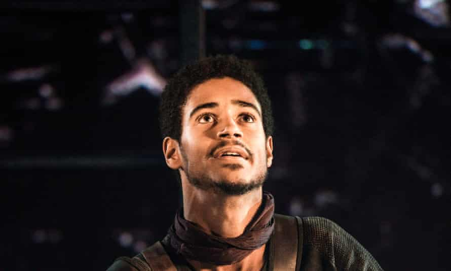 Alfred Enoch, who played Dean Thomas, in Coriolanus at the Donmar Theatre in 2013.