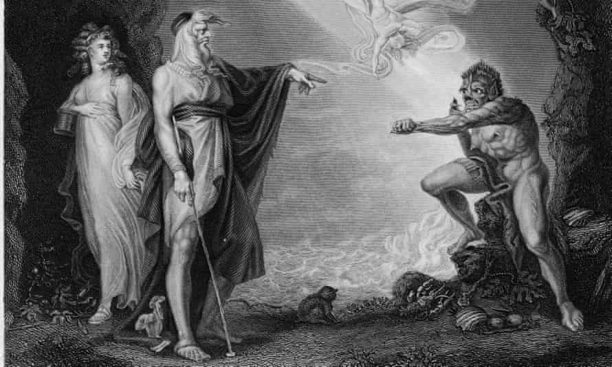 A scene from The Tempest showing Prospero, Miranda and Caliban