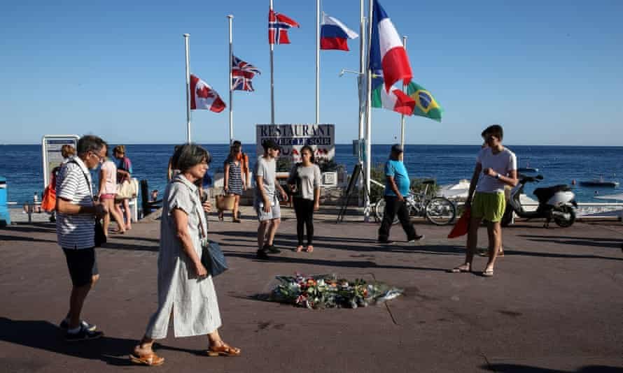 Flowers placed at the scene of the truck attack on the Promenade des Anglais in Nice, southern France.