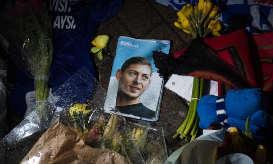 Flowers, cards and messages are left in tribute to Emiliano Sala outside Cardiff City stadium.
