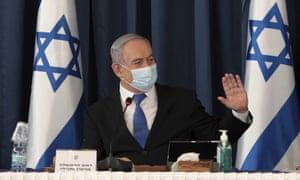 Benjamin Netanyahu chairing the weekly cabinet meeting in Jerusalem on 5 July.