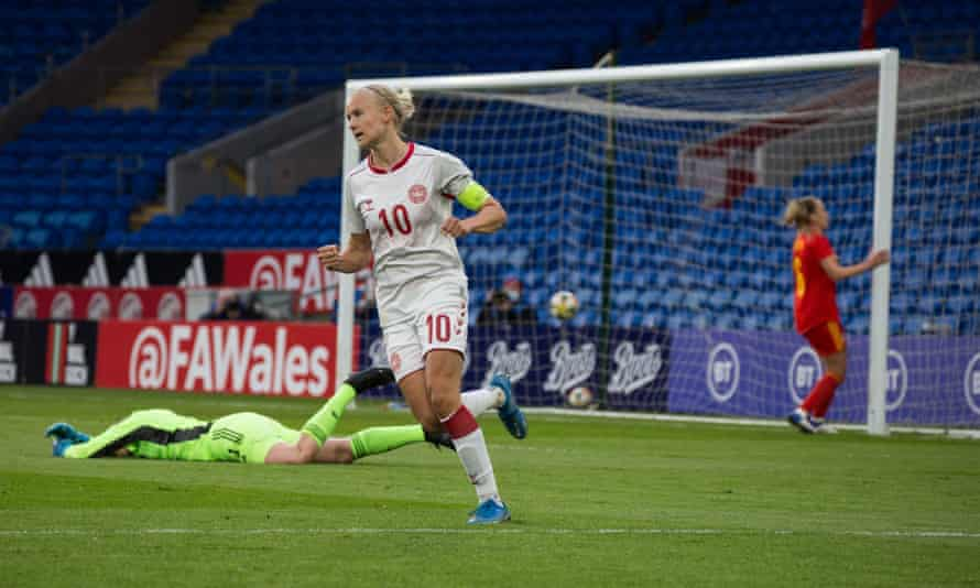 Pernille Harder finds the net during a win against Wales.