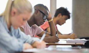 University students taking an exam