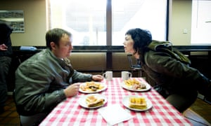Neil Maskell as Arby and Fiona O'Shaughnessy as Jessica Hyde in Utopia