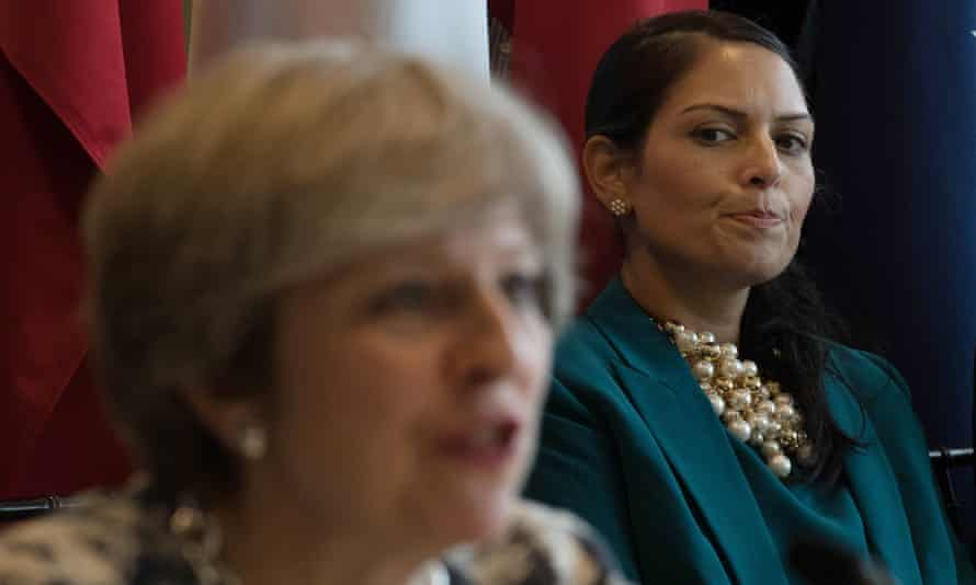 Priti Patel and Theresa May at a meeting on modern day slavery and human trafficking at September's UN general assembly in New York