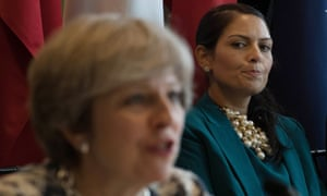 Priti Patel and the former prime minister Theresa May at a meeting on modern day slavery and human trafficking at the United Nations General Assembly in New York.