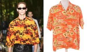 (From left) a look from Balenciaga's SS18 show; tropical Hawaiian shirt, £24, Beyond Retro.