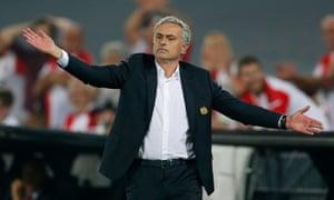 Jose Mourinho not happy on the touchline.