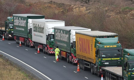 Lorries line up outside the port of Dover as part of planning for post-Brexit disruption.