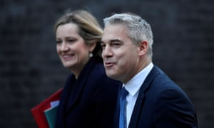 Stephen Barclay, the Brexit secretary, arriving for cabinet this morning with Amber Rudd, the work and pensions secretary