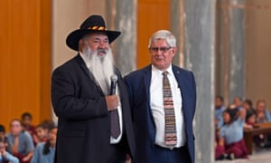 Indigenous youth choir Spinifex Gum perform at Parliament House in Canberra<br>epa07829373 Australia's Labor Senator Pat Dodson (L) and Minister for Indigenous Australians Ken Wyatt (R) during a performance by Indigenous youth choir Spinifex Gum at Parliament House in Canberra, Australian Capital Territory, Australia, 09 September 2019. The Spinifex Gum, in collaboration with the Marliya Choir, performed in the Marble Foyer at Parliament House.  EPA/LUKAS COCH  AUSTRALIA AND NEW ZEALAND OUT